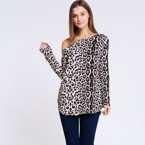 ONE SIDE OFF SHOULDER ANIMAL PRINT TUNIC TOP NWT